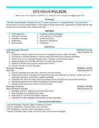 Job Gym Resume by Best Lead Massage Therapist Resume Example Livecareer
