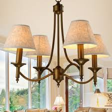 Country Style Chandelier 5 Light Black Wrought Iron Chandeliers Cylinder Glass Shade