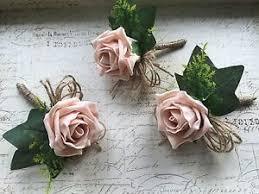 wedding flowers buttonholes 3 x vintage dusky pink blush buttonholes rustic hessian