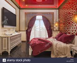3d illustration bedroom interior design of a hotel room in a stock