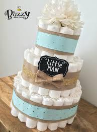 diper cake boy cake spa blue burlap 3 tier cake