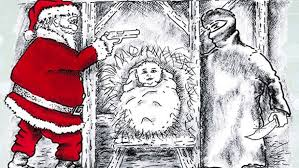 christmas card armed santa defends baby jesus from knife wielding