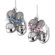 kurt adler noble gems silver baby shoes glass ornament