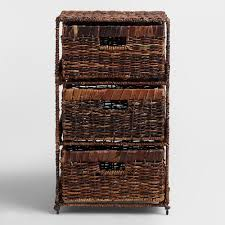 Chest Of Drawers With Wicker Drawers Madras 3 Drawer Tower World Market