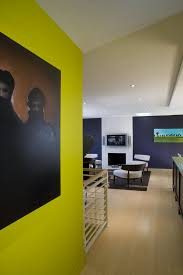 chartreuse walls contemporary with open floor plan silver