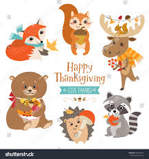 forest animals thanksgiving design stock vector 488645656