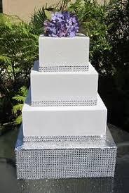 rhinestone cake stand 10 to 18 square wedding cake stand riser rhinestone mesh 4