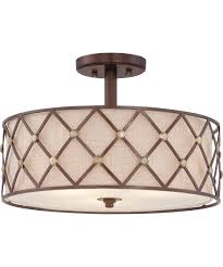 Quoizel Flush Mount Ceiling Light Quoizel Bwl1717 Brown Lattice 17 Inch Wide Semi Flush Mount