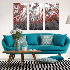 posters for home decor red leaf trees landscape canvas wall art painting modern autunm