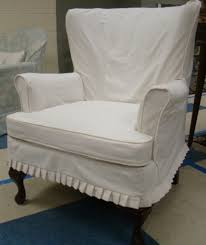 furniture white linen wingback chair slipcover with skirt