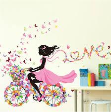 Cycling Home Decor Diy Wall Stickers Home Decor Pink Princess Cycling Wall