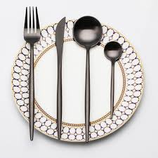 wedding silverware lekoch black dinner set wedding golden travel cutlery set