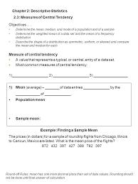 2 3 measures of central tendency chapter 2 descriptive