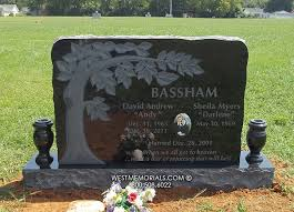Flat Grave Markers With Vase Bassham With Carved Tree U0026 Etching Headstonein Granite