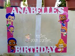 pink bubble guppies birthday frame photo prop wood handcrafted