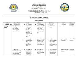 pupil report template accomplishement journal rpms