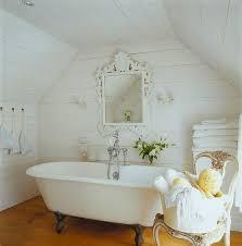 Shabby Chic Bathroom Ideas by Whitewashed Wood Clad Shabby Bathroom Salle De Bain Bathroom