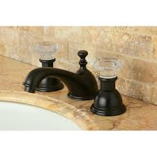 Two Tone Bathroom Faucets by Crystal Handle Oil Rubbed Bronze Widespread 3 Hole Mount Bathroom
