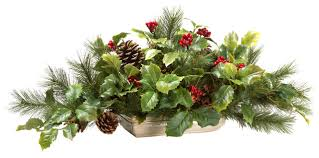 Traditional Flower Arrangement - holly and pine silk centerpiece traditional artificial flower