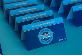 themed place cards swim themed logo place cards swim themed bat mitzvah place cards
