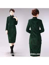 long sleeve green woolen cheongsam traditional chinese winter