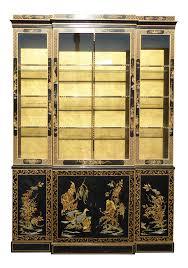 drexel heritage vintage asian chinoiserie black u0026 gold gilt hutch
