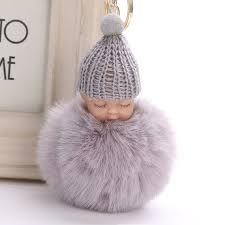baby keychain fluffy pompom sleeping baby key chain faux rabbit fur pom pon