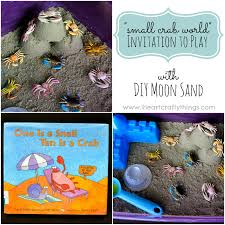 small crab world invitation to play with diy moon sand i heart