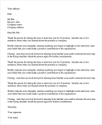 sample thank you letter after an interview 7 examples in pdf word