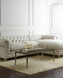 Chesterfield Sectional Sofa Linen Ivory Sectional Sofa