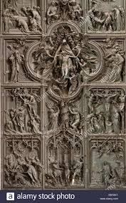 main door detail bronze main door of milan cathedral with scenes from the