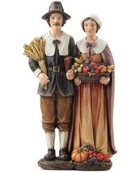thanksgiving pilgrims family two pilgrims figurine