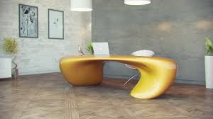 furniture light yellow futuristic office desk with modern silver