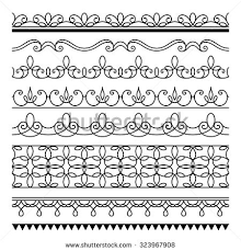 set simple border ornaments ornamental seamless stock vector