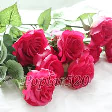 Flowers For Home Decor by Latex Real Touch Rose Flowers For Wedding Bouquet Home Party
