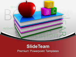 alphabet blocks with books and apple powerpoint templates ppt