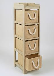 Wicker Storage Chest Of Drawers 4 Drawer Wooden Tower Unit 24cm X 28 7cm X 95 5cm Matalan