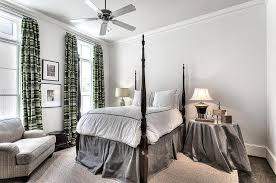 4 Poster Bed With Curtains 4 Poster Bed With Gray Skirted Bedside Table Transitional Bedroom