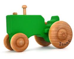 tracteur en bois tracteur jouet bois vert personnalisé jouet en bois jouet