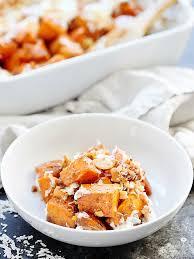 sweet potato casserole w coconut cashews marshmallows