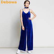 blue velvet jumpsuit debowa 2017 autumn winter jumpsuit blue sling v neck