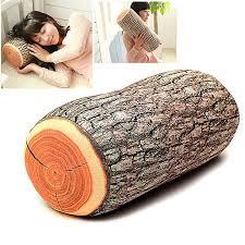 wood log shape soft car seat rest neck support cushion
