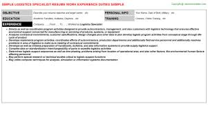 Contract Specialist Resume Example by Logistics Consultant Cover Letter