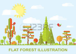 flat vector tree illustration autumn summer flower