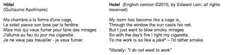 ma chambre a la forme d une cage poulenc apollinaire hôtel translation edward lein composer