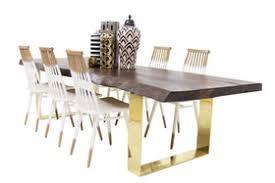 walnut eco slab dining table with brass u legs mid century