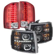 2008 chevy silverado led tail lights chevy silverado 2007 2013 black halo drl projector headlights and