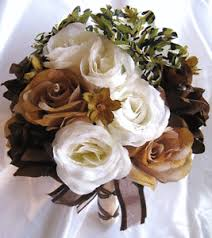 camo flowers wedding bouquet bridal silk flower camouflage brown ivory