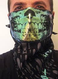 zombie apocalypse holographic skull face bandana mask black bombs