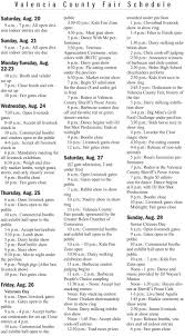 valencia county fair schedule news bulletin com